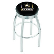 L8C3C - Chrome U.S. Army Swivel Bar Stool with 2.5 Ribbed Accent Ring by Holland Bar Stool Company