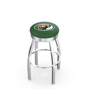 L8C3C - Chrome Bemidji State Swivel Bar Stool with 2.5 Ribbed Accent Ring by Holland Bar Stool Company