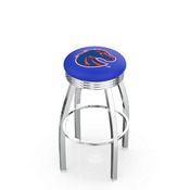 L8C3C - Chrome Boise State Swivel Bar Stool with 2.5 Ribbed Accent Ring by Holland Bar Stool Company