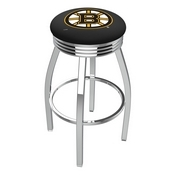L8C3C - Chrome Boston Bruins Swivel Bar Stool with 2.5 Ribbed Accent Ring by Holland Bar Stool Company