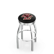 L8C3C - Chrome Boston College Swivel Bar Stool with 2.5 Ribbed Accent Ring by Holland Bar Stool Company