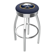 L8C3C - Chrome Buffalo Sabres Swivel Bar Stool with 2.5 Ribbed Accent Ring by Holland Bar Stool Company