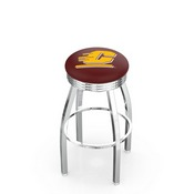 L8C3C - Chrome Central Michigan Swivel Bar Stool with 2.5 Ribbed Accent Ring by Holland Bar Stool Company