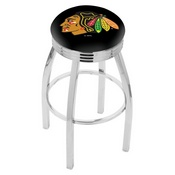 L8C3C - Chrome Chicago Blackhawks Swivel Bar Stool with 2.5 Ribbed Accent Ring by Holland Bar Stool Company