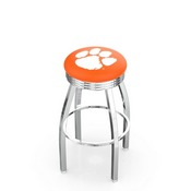 L8C3C - Chrome Clemson Swivel Bar Stool with 2.5 Ribbed Accent Ring by Holland Bar Stool Company