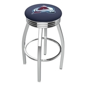 L8C3C - Chrome Colorado Avalanche Swivel Bar Stool with 2.5 Ribbed Accent Ring by Holland Bar Stool Company