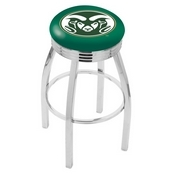 L8C3C - Chrome Colorado State Swivel Bar Stool with 2.5 Ribbed Accent Ring by Holland Bar Stool Company