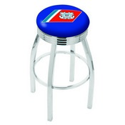 L8C3C - Chrome U.S. Coast Guard Swivel Bar Stool with 2.5 Ribbed Accent Ring by Holland Bar Stool Company