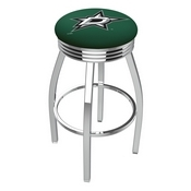 L8C3C - Chrome Dallas Stars Swivel Bar Stool with 2.5 Ribbed Accent Ring by Holland Bar Stool Company