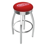 L8C3C - Chrome Detroit Red Wings Swivel Bar Stool with 2.5 Ribbed Accent Ring by Holland Bar Stool Company