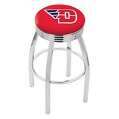 L8C3C - Chrome University of Dayton Swivel Bar Stool with 2.5 Ribbed Accent Ring by Holland Bar Stool Company