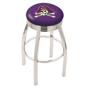 L8C3C - Chrome East Carolina Swivel Bar Stool with 2.5 Ribbed Accent Ring by Holland Bar Stool Company