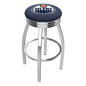 L8C3C - Chrome Edmonton Oilers Swivel Bar Stool with 2.5 Ribbed Accent Ring by Holland Bar Stool Company