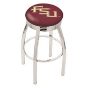 L8C3C - Chrome Florida State (Script) Swivel Bar Stool with 2.5 Ribbed Accent Ring by Holland Bar Stool Company