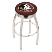 L8C3C - Chrome Florida State (Head) Swivel Bar Stool with 2.5 Ribbed Accent Ring by Holland Bar Stool Company