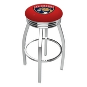 L8C3C - Chrome Florida Panthers Swivel Bar Stool with 2.5 Ribbed Accent Ring by Holland Bar Stool Company
