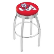 L8C3C - Chrome Fresno State Swivel Bar Stool with 2.5 Ribbed Accent Ring by Holland Bar Stool Company