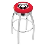 L8C3C - Chrome Georgia Bulldog Swivel Bar Stool with 2.5 Ribbed Accent Ring by Holland Bar Stool Company