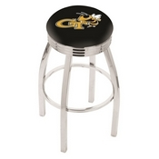 L8C3C - Chrome Georgia Tech Swivel Bar Stool with 2.5 Ribbed Accent Ring by Holland Bar Stool Company