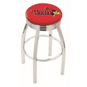 L8C3C - Chrome Illinois State Swivel Bar Stool with 2.5 Ribbed Accent Ring by Holland Bar Stool Company