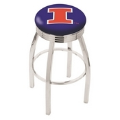 L8C3C - Chrome Illinois Swivel Bar Stool with 2.5 Ribbed Accent Ring by Holland Bar Stool Company