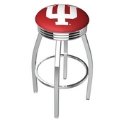 L8C3C - Chrome Indiana Swivel Bar Stool with 2.5 Ribbed Accent Ring by Holland Bar Stool Company