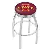L8C3C - Chrome Iowa State Swivel Bar Stool with 2.5 Ribbed Accent Ring by Holland Bar Stool Company