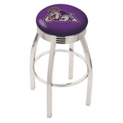 L8C3C - Chrome James Madison Swivel Bar Stool with 2.5 Ribbed Accent Ring by Holland Bar Stool Company