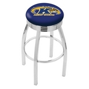 L8C3C - Chrome Kent State Swivel Bar Stool with 2.5 Ribbed Accent Ring by Holland Bar Stool Company