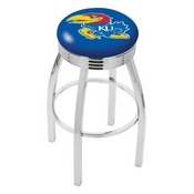 L8C3C - Chrome Kansas Swivel Bar Stool with 2.5 Ribbed Accent Ring by Holland Bar Stool Company
