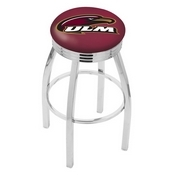 L8C3C - Chrome Louisiana-Monroe Swivel Bar Stool with 2.5 Ribbed Accent Ring by Holland Bar Stool Company
