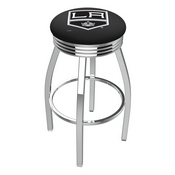 L8C3C - Chrome Los Angeles Kings Swivel Bar Stool with 2.5 Ribbed Accent Ring by Holland Bar Stool Company