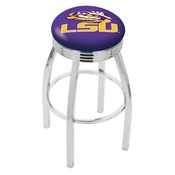 L8C3C - Chrome Louisiana State Swivel Bar Stool with 2.5 Ribbed Accent Ring by Holland Bar Stool Company