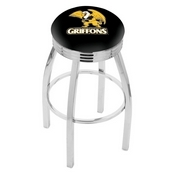L8C3C - Chrome Missouri Western State Swivel Bar Stool with 2.5 Ribbed Accent Ring by Holland Bar Stool Company