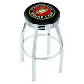 L8C3C - Chrome U.S. Marines Swivel Bar Stool with 2.5 Ribbed Accent Ring by Holland Bar Stool Company