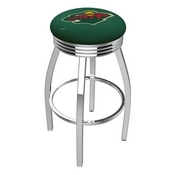 L8C3C - Chrome Minnesota Wild Swivel Bar Stool with 2.5 Ribbed Accent Ring by Holland Bar Stool Company