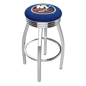 L8C3C - Chrome New York Islanders Swivel Bar Stool with 2.5 Ribbed Accent Ring by Holland Bar Stool Company