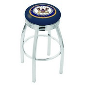 L8C3C - Chrome U.S. Navy Swivel Bar Stool with 2.5 Ribbed Accent Ring by Holland Bar Stool Company