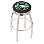 L8C3C - Chrome North Dakota Swivel Bar Stool with 2.5 Ribbed Accent Ring by Holland Bar Stool Company
