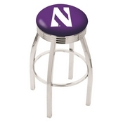 L8C3C - Chrome Northwestern Swivel Bar Stool with 2.5 Ribbed Accent Ring by Holland Bar Stool Company