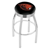 L8C3C - Chrome Oregon State Swivel Bar Stool with 2.5 Ribbed Accent Ring by Holland Bar Stool Company