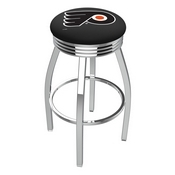 L8C3C - Chrome Philadelphia Flyers Swivel Bar Stool with 2.5 Ribbed Accent Ring by Holland Bar Stool Company