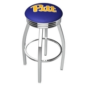 L8C3C - Chrome Pitt Swivel Bar Stool with 2.5 Ribbed Accent Ring by Holland Bar Stool Company