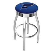 L8C3C - Chrome St Louis Blues Swivel Bar Stool with 2.5 Ribbed Accent Ring by Holland Bar Stool Company