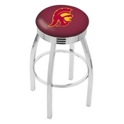 L8C3C - Chrome USC Trojans Swivel Bar Stool with 2.5 Ribbed Accent Ring by Holland Bar Stool Company