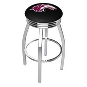 L8C3C - Chrome Southern Illinois Swivel Bar Stool with 2.5 Ribbed Accent Ring by Holland Bar Stool Company