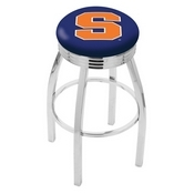 L8C3C - Chrome Syracuse Swivel Bar Stool with 2.5 Ribbed Accent Ring by Holland Bar Stool Company