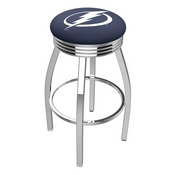 L8C3C - Chrome Tampa Bay Lightning Swivel Bar Stool with 2.5 Ribbed Accent Ring by Holland Bar Stool Company