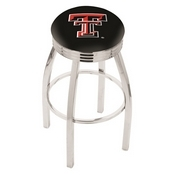 L8C3C - Chrome Texas Tech Swivel Bar Stool with 2.5 Ribbed Accent Ring by Holland Bar Stool Company