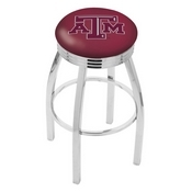 L8C3C - Chrome Texas A&M Swivel Bar Stool with 2.5 Ribbed Accent Ring by Holland Bar Stool Company